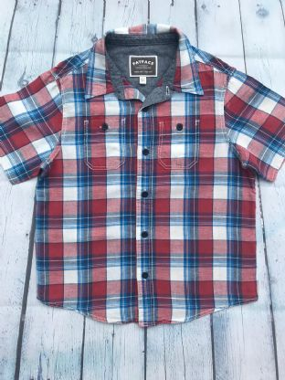 Fatface blue, red and white checked short sleeve shirt age 6-7
